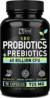 Sponsored Ad - Probiotics and Prebiotics + SBO Probiotics (60 Billion CFU | 90 Capsules) Acidophilus Probiotic w. Saccharo...