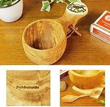 北欧フィンランド木製 本物ククサ Kuksa Pahkataide(パッカタイデ)ヴィサコイブ/カーリーバーチ ヘラジカの絵柄ツノ飾り 説明書 箱包装 木製ヴィンテージスプーン付き