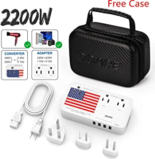 DOACE X9 2200W Travel Voltage Converter 220V to 110V for Hair Dryer Steam Iron, 10A Travel Power Adapter with 2.4A 4-Port USB and UK/AU/US/EU Worldwide Plug Adapter for Cell Phone Camera Tablet Laptop