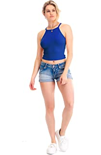 Women's Basic Ribbed High Neck Racerback Camisole Top (S-3X)