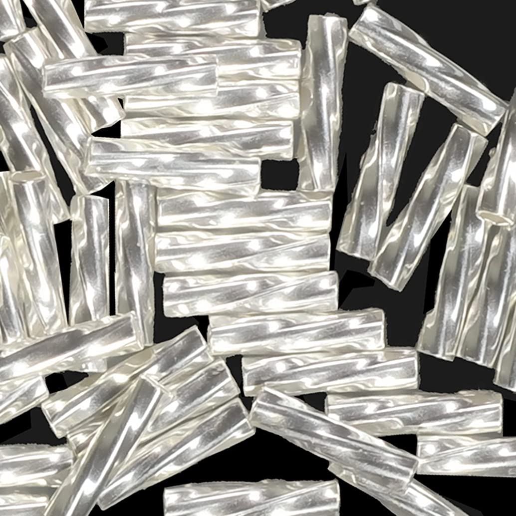 Sterling Silver Twist Tube Beads 1mm X 6mm .037