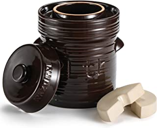 Razorri Comodo Ceramic Fermentation Crock - 2 Liter (0.5 Gallon) Traditional Water-Sealed Jar with Glazed Weights - Fermen...