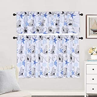 Haperlare 3 Pieces Kitchen Window Curtain Set, Ocean Starfish Pattern Kitchen Tier Curtains and Valance Set for Cafe Bathroom, Seashell Conch Design Living Room Curtain Sets, 36-Inch, Blue/Grey