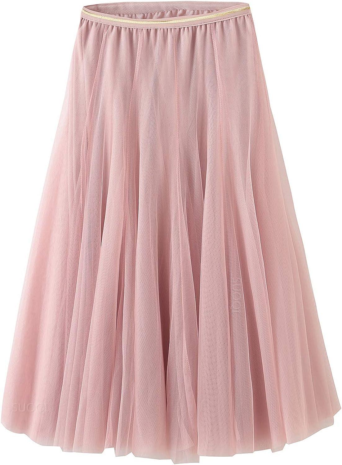 Tulle Skirt for Women Skirts Midi Length Tulle Skirt A-Line Knee Length Skirt High Waist Princess Skirt