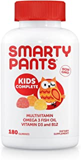 SmartyPants Kids Complete Gummy Vitamins: Multivitamin & Omega 3 DHA/EPA Fish Oil, Methyl B12, Vitamin D3, limited Valuesi...