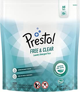 Amazon Brand - Presto! Laundry Detergent Pacs, Free & Clear, 35 Count