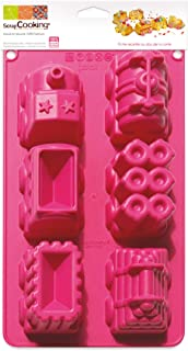 SCRAP COOKING 3148 Moule - Train, Silicone, Rose, 33 x 17,5 x 5 cm