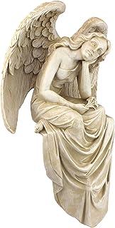 Design Toscano NG34725 Resting Grace Angel Sitting Garden Statue, Medium, 15 Inch, Polyresin, Ancient Ivory