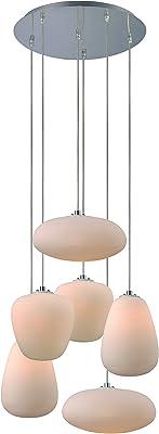 Trans Globe Lighting PND-1012 6-Light Frosted Linen Island Pendant, Large