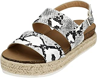Espadrille Flatform Sandals, Women's Casual Ankle Buckle Strap Wedge Sandals Open Toe Slingback Summer Sandals Shoes