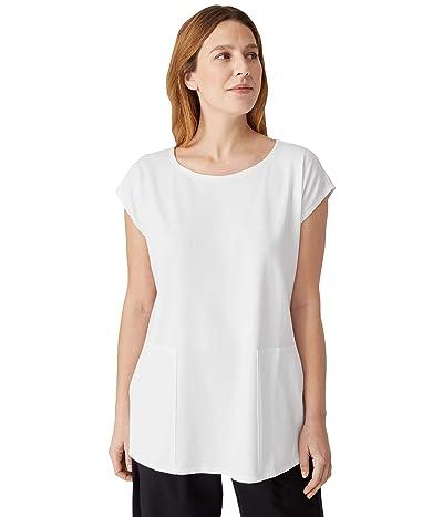Eileen Fisher Jewel Neck Boxy Tunic in Organic Cotton Stretch Jersey