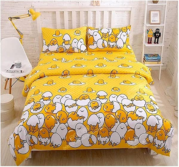 Peachy Baby Featuring Gudetama Bedding Sheet Set Single Queen Twin Double Full Size Free Express Shipping 100 Cotton Cartoon Lazy Eggs Yellow 3 And 4 Pieces Bed Sheets Double Full Size