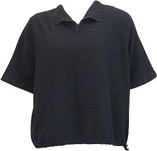 Ezze Wear Women`s Mirage Cotton Rachel Zipper Oversized Tunic Top Black