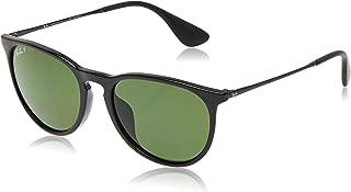 RAY-BAN RB4171F Erika Round Asian Fit Sunglasses, Black/Polarized Green, Polarized Green