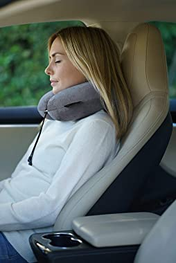 Travelrest - Therapeutic Memory Foam Travel & Neck Pillow - Washable Micro-Fiber Cover - Attaches to Luggage -- Contours