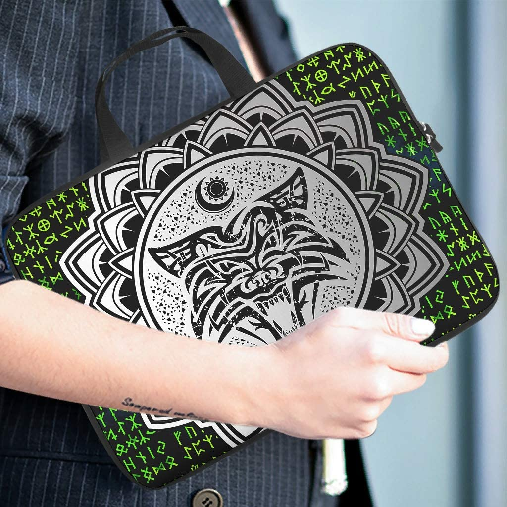 Viking Wolf Flower Green Runes Laptop Sleeve Cute 3D Print Notebook Carrying Case Portable Neoprene Notebook Cover for Boyfriend Girlfriend White 17inch