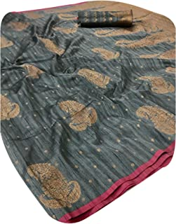 Indian Formal women' Soft Banarasi Slub Silk sari Blouse Festive Occaisonal Light Saree 5997