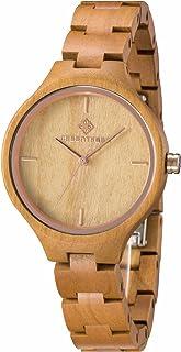 Greentreen Women's Cherry Wood Watch Lightweight Comfort Quartz Watch Gift Boxed Fashion Watch Casual Watch
