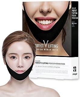 Avajar Perfect V Lifting Premium Woman Black Mask 5pcs - V Line Mask | Face Lifting Mask | Face Slimmer | Chin Strap For Double Chin Remover | V Shaped Slimming Face Mask | Double Chin Mask