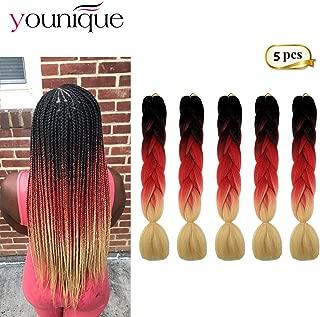 Jumbo Braiding Hair Extensions 5pcs 24inch 3 Tone Ombre Braiding Hair Extensions Kanekalon Synthetic Hair For Women Ultra Braid (Dark, Red, Beige) #29