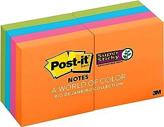 Post-it 622-8SSAU Super Sticky Notes, Rio de Janeiro Collection, 8 Pads, 2 x 2