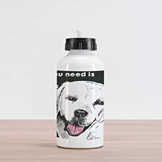 Lunarable Animal Aluminum Water Bottle, Labrador Dog Vintage Seemed Image with Love Themed Words Artwork, Aluminum Insulat...