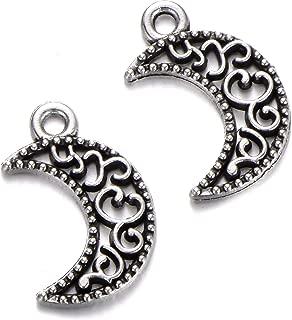100 pcs vintage Tibetan Silver Plated moon Charms Metal Pendants for Jewelry Making DIY Handmade Craft 18x12mm