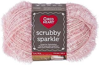 Red Heart Scrubby Sparkle Yarn, Grapefruit