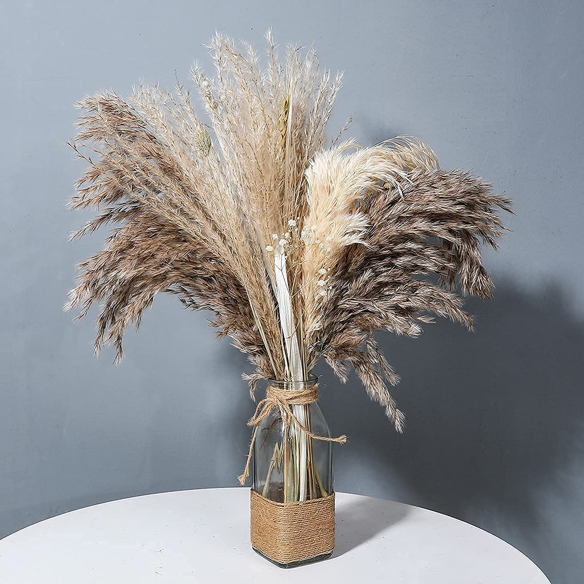 """Pampas Grass Branches Floral Fluffy 18"""" Natural Dried Flowers Bouquet Boho Wedding Home Decor for Vase , Pampass Floral Grass Small Fall Decor Table Decorations for Home Party"""