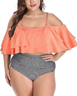 Wavely Women Plus Size Swimwear Ruffled Bikini Off...