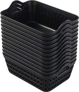 Dehouse Ensemble de 12 mini paniers de rangement en plastique, noir