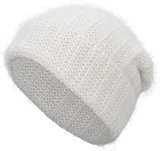 EASTER BARTHE Women Angora Rabbit Fur Cuffed Beanie Thick Warm Winter Slouchy Skull Knit Beanie Stocking Hat Cap