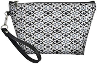 Ladies Makeup Bag,Ethnic Tile Like Repetitive Victorian Style Pattern,Women Cosmetic Travel Purse Toiletry