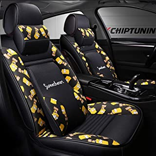 Car Seat Covers Set, Universal Car Seat Cushion Front Rear 5 Seat Full Set Universal Compatible Airbags Front and Rear Breathable Comfort Fiber Hemp Protector Cushion (Color : Simpson)
