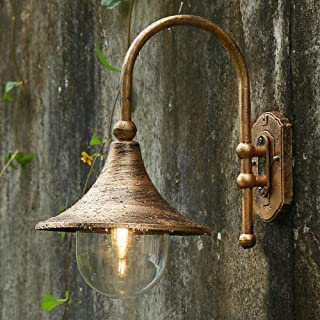 Belief Rebirth Continental Victoria Patio Glass Outdoor Wall Lantern - Modern Antique Brass Outdside Wall Mount Light - Garden Villa Lighting Fixtures - Aluminum Alloy Glass Exterior Landscape Lamp