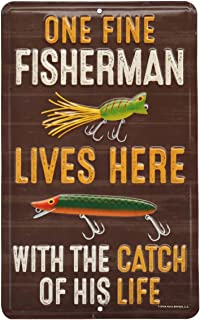 Open Road Brands One Fine Fisherman Embossed Metal Sign