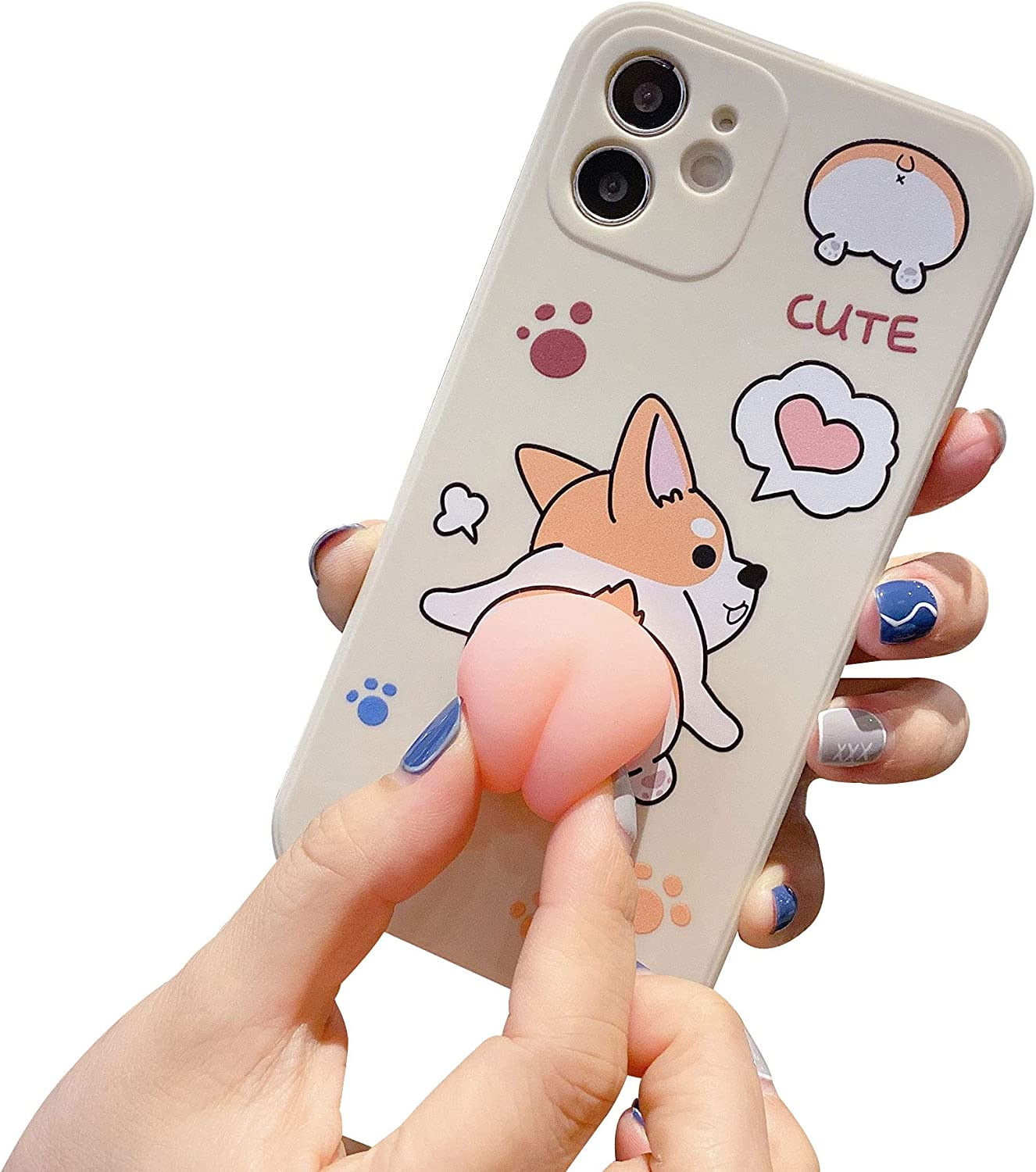 BONICI Men Women Creative Funny Novelty Waving 3D Pink Butt Animals Soft TPU Silicone Rubber Phone Case, Pressure Stress Releasing Cover for iPhone 11 Pro Max, Full Body Protection -Corgi Dog White