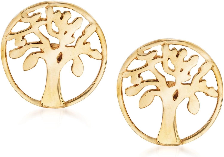 Ross-Simons 18kt Yellow Gold Tree Of Life Stud Earrings