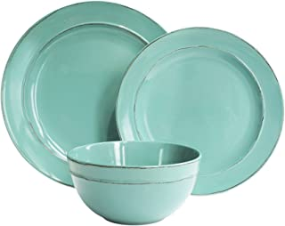 American Atelier 6512-12-WM Olivia Round Dinnerware Set – 12-Piece Stoneware Party Collection w/ 4 Dinner Salad Plates, 4 Bowls –Gift Idea for Special Occasions, 10.4 x 10.4, Sea Foam Green