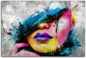 Abstract Canvas Frameless Art Wall Decor Sexy Girl Lips Pop Art Canvas Prints Modern Canvas Art Wall Paintings For Living Room Bedroom Office Home Decoration 24x16 Inch