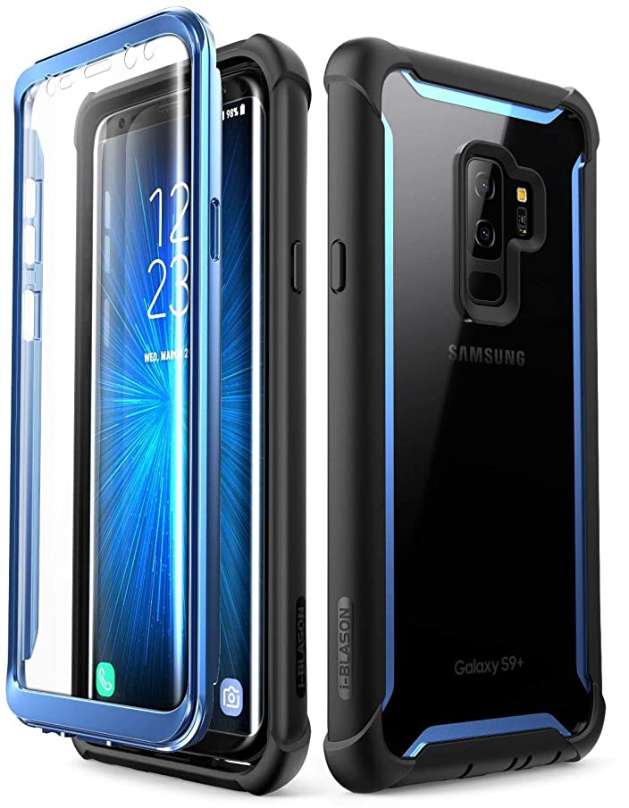 i-Blason Case Compatible with Samsung Galaxy S9+ Plus, [Ares] Full-body Rugged Clear Bumper Case with Built-in Screen Protector for Samsung Galaxy S9+ Plus 2018 Release (Blue) wzehz902307