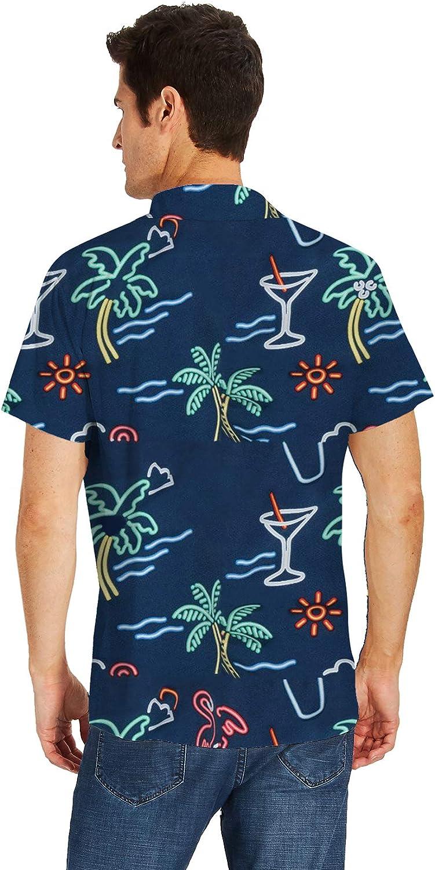 Fanient Mens Hawaiian Shirt Summer 3D Print Casual Short Sleeve Button Down Graphic Aloha Dress Shirts