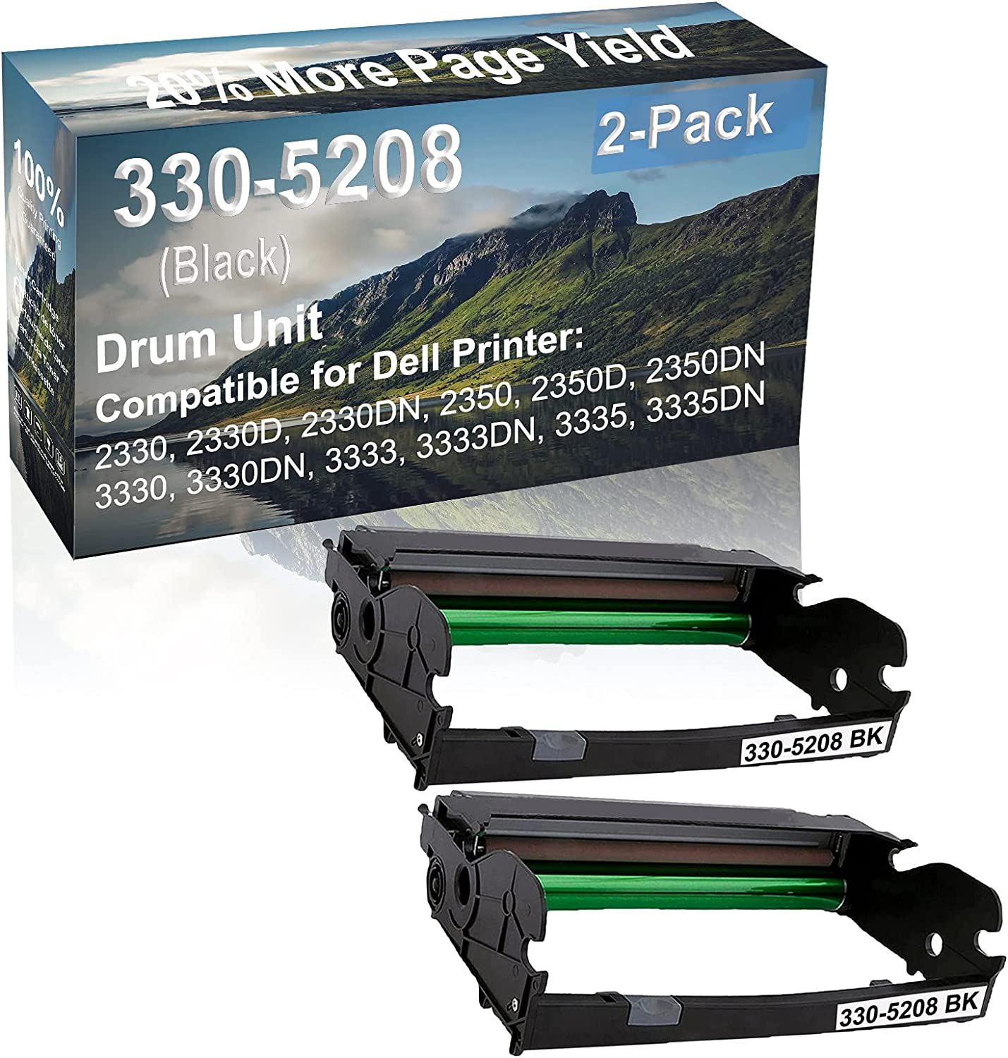 2-Pack Compatible 330-5208 Drum Kit use for Dell 2330, 2330D, 2330DN, 2350 Printer (Black)