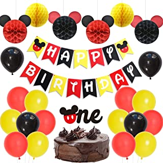 Mickey Themed 1st Birthday Decorations Supplies Boys Girls First Birthday Party with Red Black and Yellow Mickey Happy Birthday Banner