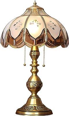 TOUTES BRONZE Vintage Table Lampe de chevet, Traditionnel E26 Porte-lampe Lampe 2-Lights Lampe rustique pour chambre à coucher Salon Restaurant-laiton 50cm (20 pouces)