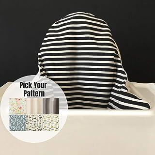 High Chair Cover, Cushion Slipcover, Black Cream Stripes, First Birthday Decor