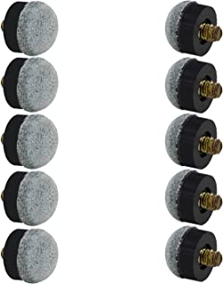 OCR 13mm Soft Cue Tips Billiard Replacement Screw on Tips for Pool Cues Grey Pack of 10 (13mm Soft Grey-10pcs)