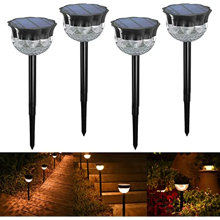 [Auto On/Off] YiLaie Outdoor Solar Garden Lights LED Solar Spike Light, Led Pathway Landscape Lighting for Patio, Yard, Path(4 Packs)