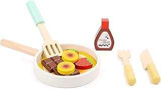small foot 11467 pannkaksset av trä, med stekpanna, steksvarv, kniv och gaffel samt ingredienser, från 3 år