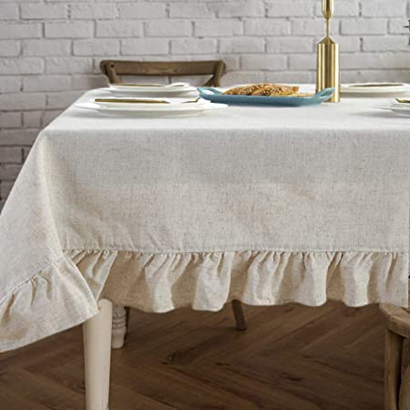 Round Lace Tablecloth Wide Ruffled Edge Off White 62 inches